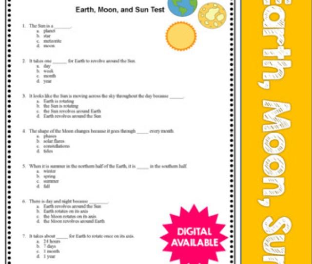 Earth Moon Sun Space Test Assessment 3rd 4th 5th 6th