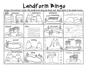 Earth S Landforms Land And Water Features Minibook Bingo