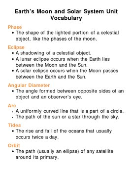 Earths Moon and Solar System Unit Vocabulary Lesson Plan ...