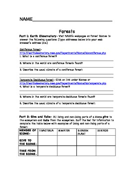 Ecosystems Stem Earth Science Internet Worksheets W