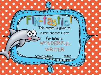 End Of The Year Ocean Themed Award Certificates Editable TpT