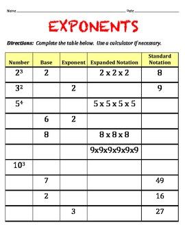 Exponents Worksheet