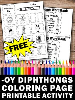Free Diphthongs Worksheet Oy Vowel Sounds Word Work