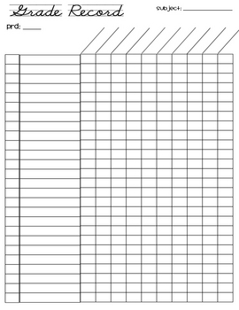 Free Grade Record Sheet 26 Students By Adrienne Wiggins