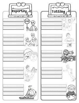 Reporting Vs Tattling Poster Activity Amp Worksheet By