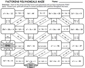 Factoring Polynomials Maze Activity By Manipulating Math