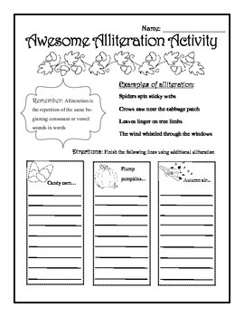 Fall Alliteration Worksheet By Creative Curtsies