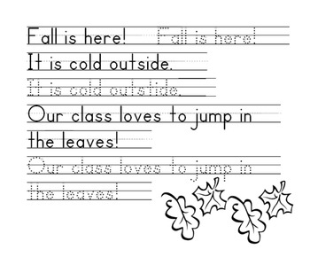 Fall Words Handwriting Worksheet