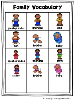 Family Picture Word Vocabulary Bundle for Kindergarten | TpT
