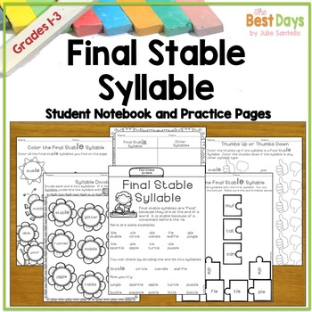 Final Stable Syllables Student Notebook And Practice Pages By The Best Days