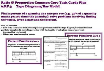 Finding Percent Tape Diagram Bar Model Common Core 6 Rp 3