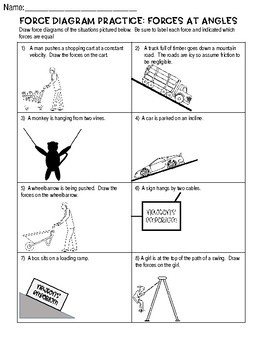 Force Diagram Practice Worksheet: Forces at Angles (Free