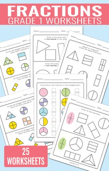 Fractions Worksheets For Grade 1 By Easy Peasy Learners