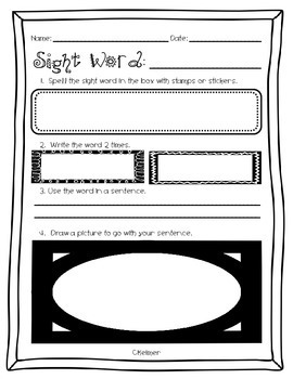 Free Sight Word Practice Worksheet Template By Courtney