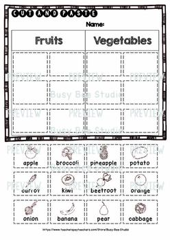Fruits And Vegetables Sorts