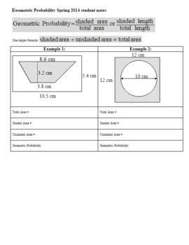 Geometric Probability Worksheet Spring Student Notes
