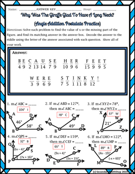 Angle Addition Postulate Riddle Worksheet By Secondary