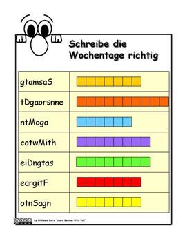German Days Of The Week Die Wochentage Auf Deutsch By Learn German With Fun