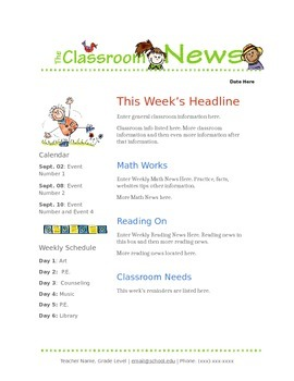 Google Docs Elementary Newsletter Template By Stephanie Thompson