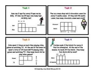Grade 6 Math Ratios: Tape Diagram Task Cards by Amy W | TpT