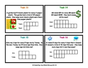 Grade 6 Math Ratios: Tape Diagram Task Cards by Amy W | TpT