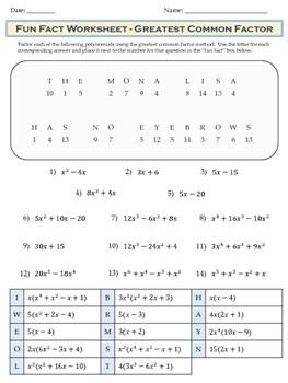 Greatest Common Factor Gcf Fun Fact Worksheet Riddle