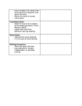 Guided Reading Lesson Plan Template With Observation Notes TpT