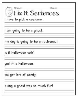 Halloween Capitalization Fix It Sentences Worksheet By