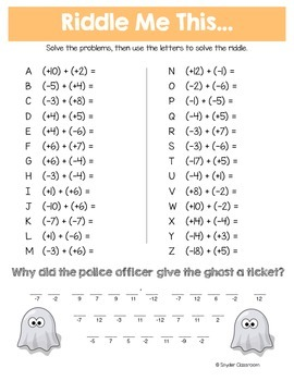 Halloween Adding And Subtracting Integers Math Riddles By