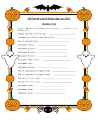 halloween sign up sheet for party