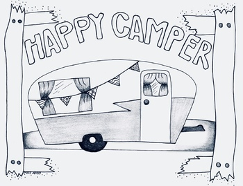 Happy Camper Camp Theme Coloring Page Camping Fall By Miss Jenny Designs