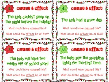Holiday Cause And Effect Task Cards Winter And Christmas