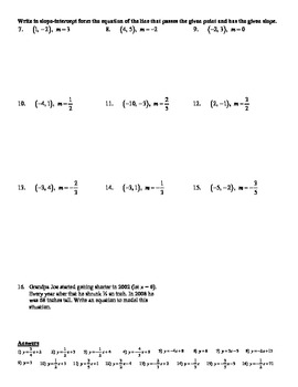 Holt Algebra 5 6a Point Slope Form Given A Point And