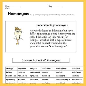 Homonyms 2 Pg Lesson Worksheet Handout Quiz Or
