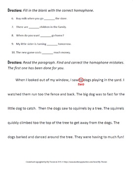 Homophones Worksheet Using To Too And Two Correctly By