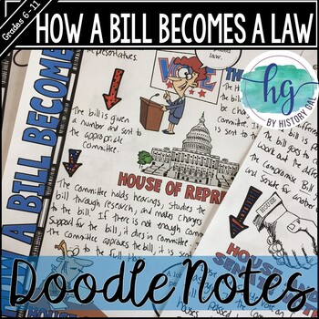 how a bill becomes a law doodle notes and digital guided notes