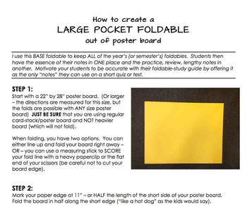 how to make a large pocket foldable with poster board