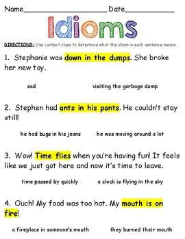 Idioms Worksheet By Nikki Squillante