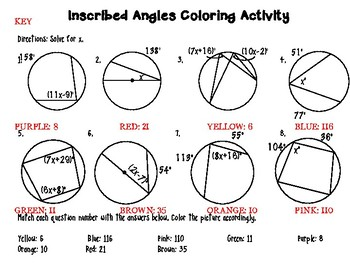 Inscribed Angles And Inscribed Quadrilateral Color By