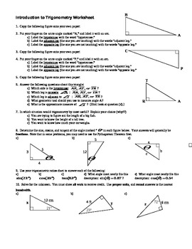 Introduction To Trigonometry Worksheet