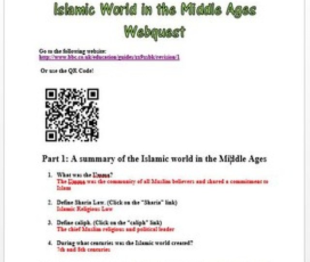 Islamic World In The Middle Ages Webquest