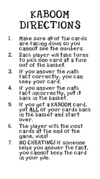 KABOOM Multiplication Math Facts 0 12 By Miss Cools Classroom
