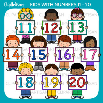 Kids With Numbers Clip Art 11 20 By Clipartisan Tpt