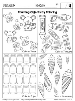 Kindergarten Math Worksheets Count To Tell The Number Of