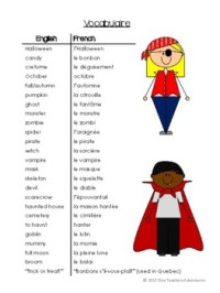 label the halloween words in french