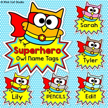 Superhero Theme Owl Labels And Name Tags By Pink Cat
