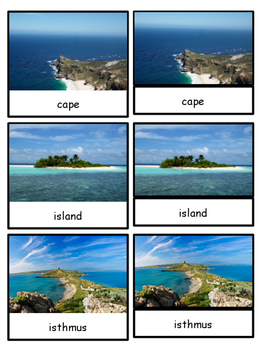 Land And Water Forms Montessori 4 Part Photo Cards TpT