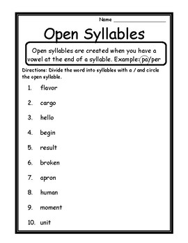Language Arts Activities Open Syllables Worksheets Open