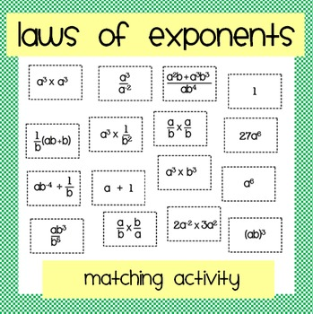 Laws Of Exponents Matching Activity By Nicola Waddilove
