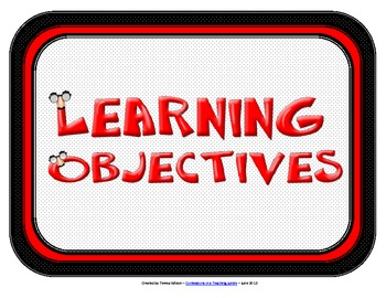 Learning Objectives Posters Red And Black Theme TpT